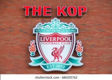 LIVERPOOL, ENGLAND - APRIL 11 2015: Liverpool FC logotype on Anfield stadium