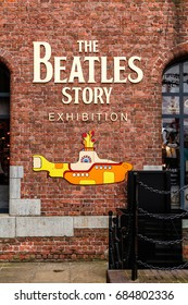 LIVERPOOL, ENGLAND - APRIL 12 2015: The Beatles story exhibition in Liverpool