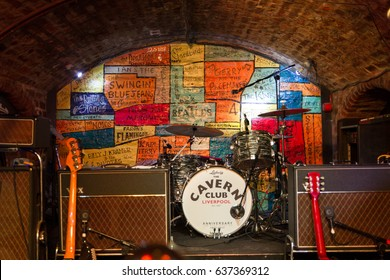 LIVERPOOL, ENGLAND - APRIL 2, 2017: Instruments on the stage of the Cavern Pub. The venue is famous because the Beatles played in the club in their early years.
