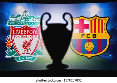 LIVERPOOL, ENGLAND, APRIL 24. 2019: Liverpool (ENG) vs FC Barcelona (SPA) UEFA Champions League, Second Semi final 2019, UCL Trophy silhouette.