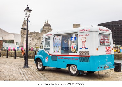 LIVERPOOL, ENGLAND - APRIL 4, 2017: Vintage ice-cream van in Albert Docks. There are many similar trucks spread in the area.
