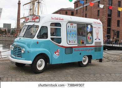Liverpool, England - August 2017: Ice cream vehicle in Liverpool Albert Docks Selling food