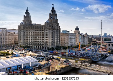 Liverpool, England - August 9, 2018: Cruise Port of Liverpool and the Venue at the Royal Liver Building.
