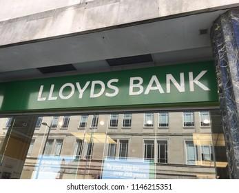 Liverpool, England, July 19, 2018: LLoyds Bank Sign