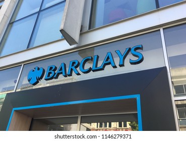 Liverpool, England, July 19, 2018: Barclays Bank Sign