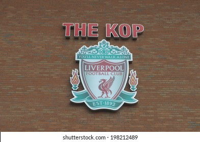 LIVERPOOL, ENGLAND - JUNE 3:The Kop and Liverpool football club crest on Anfield Stadium on June 3, 2014 in Liverpool, England. Anfield stadium is home stadium of Liverpool FC.