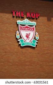 LIVERPOOL, ENGLAND - JUNE 5: Liverpool Emblem at Anfield stadium on June 5, 2009 in Liverpool, England. Liverpool Emblem is red Liver bird