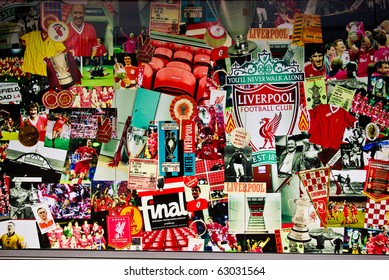 LIVERPOOL, ENGLAND - JUNE 5: Liverpool Poster at Anfield stadium on June 5, 2009 in Liverpool, England. Liverpool is one of the most successful English football clubs in UK.