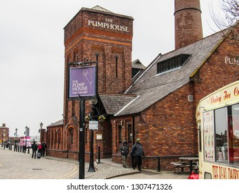 LIVERPOOL, ENGLAND - MARCH 01, 2018: The Pumphouse in Liverpool City during a typical cloudy day in England. People on the streets. Touristic place idea