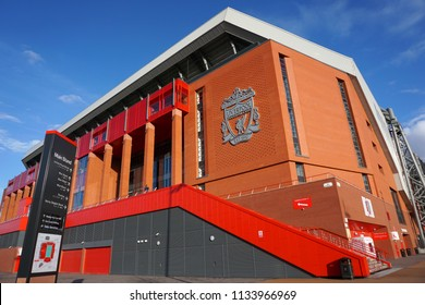 LIVERPOOL, ENGLAND - MARCH 17, 2018 : This is Anfield, Home stadium of Liverpool Football Club, Liverpool, England, United Kingdom