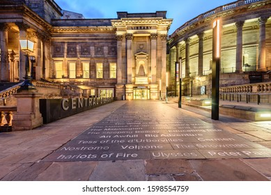LIVERPOOL, ENGLAND - MAY 19, 2015: View of the external floor of the Liverpool Central Library.