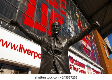 LIVERPOOL, ENGLAND - MAY 25: Bill Shankey statue at the Anfield stadium home for Liverpool Football Club one of the English Premier League F.C.   Anfield stadium on May 25, 2013 in Liverpool, UK.
