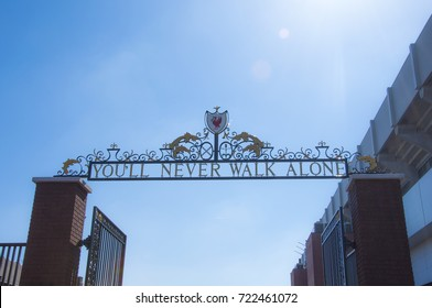 """LIVERPOOL, ENGLAND - May 7, 2017 : The gate """"You never walk alone"""" of Liverpool Football Club at Anfield stadium, Liverpool, England, United Kingdom"""