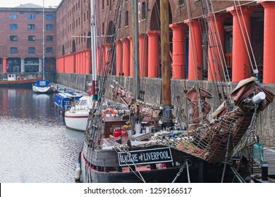 Liverpool, England - November 5, 2018: The 19th century Baltic Trader Glaciere moored in the Royal Albert Dock. Derelict for decades, the dock was restored early this century as a leisure destination