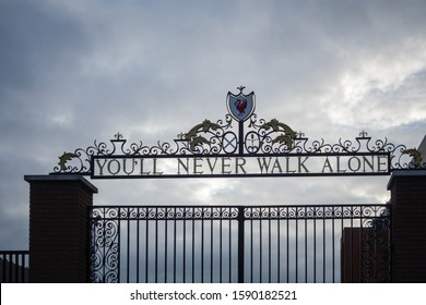LIVERPOOL, ENGLAND - NOVEMBER 5, 2019: The Shankly Gates entrance at Anfield in Liverpool, England