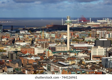 LIVERPOOL, ENGLAND - OCTOBER 17, 2017: Aerial view of Liverpool. You can see the iconic Radio City Tower located in the city centre. In the back the Port of Liverpool and the Seaforth Docks.