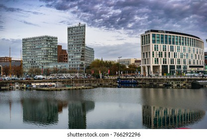 Liverpool, England UK - 31 October 2017, Merseyside Buildings with reflection in the water