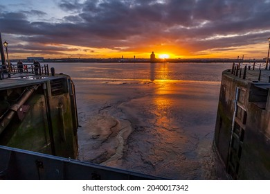LIVERPOOL, ENGLAND (UK) - FEBRUARY 2015: the Liverpool Albert Docks at sunset in Liverpool, England (UK)