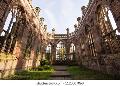 Liverpool, England, UK - November 9, 2017: The ruins of St Luke's Church, known locally as the Bombed Out Church, destroyed during the Blitz of the Second World War.