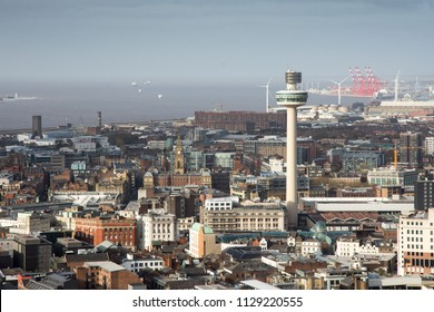 Liverpool, England, UK - November 9, 2017: Radio City Tower rises above the cityscape of Liverpool City Centre.