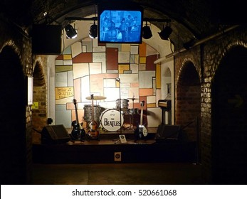 LIVERPOOL, GREAT BRITAIN - JUNE 27, 2014. Interior view of The Beatles Story museum in Liverpool with  full-size replica of Cavern Club where the Beatles performed 292 times before their breakthrough.