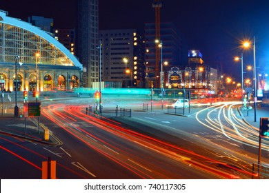 Liverpool Lime street train station in town centre at night and traffic trails of public transport county Merseyside United Kingdom of Great Britain 2017