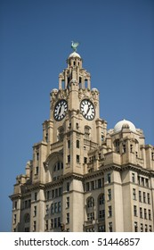 Liverpool liver building with copy space.