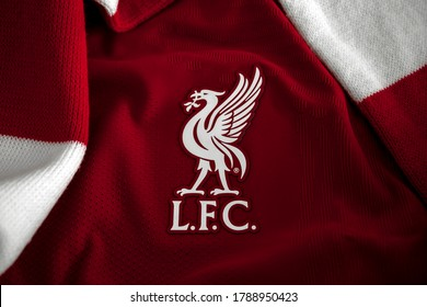 Liverpool, Merseyside, England, United Kingdom - August 3 2020: New Liverpool FC and Nike collaboration Home Football Soccer Shirt for the 2020 / 2021 season. logo detail and performance Vaporknit.
