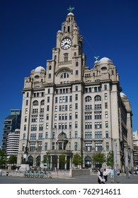 Liverpool, Merseyside, UK - May 10, 2017: The Royal Liver Building on the Liverpool's UNESCO listed waterfront.
