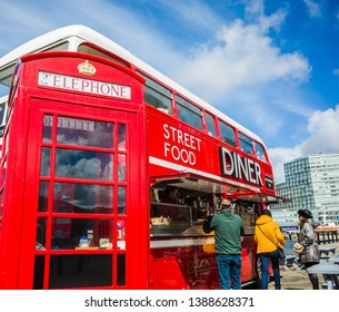 Liverpool, Merseyside UK, May 2nd 2019 - Traditional London red double decker bus selling street food at the Albert Dock, Liverpool.