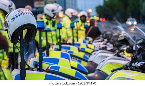 Liverpool, Merseyside, Uk, October 4th 2018:A group of police with motorcycles parked in Liverpool city centre.