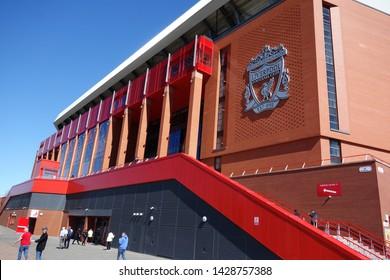 Liverpool, Merseyside/UK - May 12 2019 : Liverpool FC's main stand, Anfield Stadium.