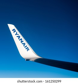LIVERPOOL - OCT 27: Winglet of the left wing of a Boeing 737-800 during the Ryanair flight between Liverpool and Vilnius on Oct. 27, 2013 in Liverpool, UK. Ryanair Ltd. is an Irish low-cost airline.
