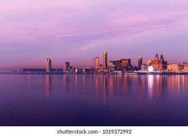 Liverpool Port Pink Sea Sunset Panorama United Kingdom