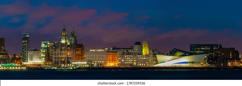 Liverpool skyline cityscape at night with buildings in England in United Kingdom