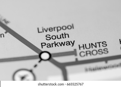 Liverpool South Parkway Station. Liverpool Metro map.