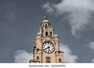 Liverpool, UK / 02 August 2019: Upper Floor Tower of Royal Liver  Building