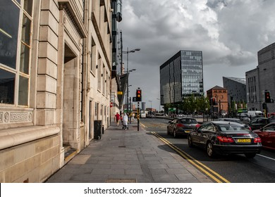 Liverpool, UK / 02 August 2019: Liverpool city center, traffic