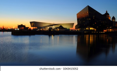 Liverpool / UK - 02/26/2018: Canning Dock with Museum of Liverpool on Left and RIBA North on right.