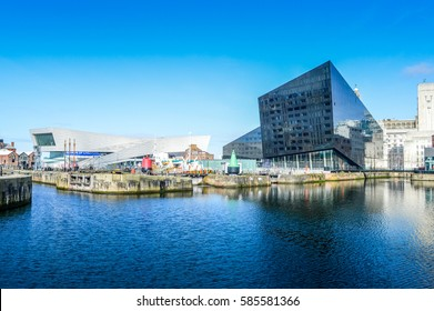 Liverpool, UK - 03 April 2015 - Museum of Liverpool and Open Eye Gallery view from Canning Dock