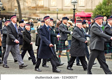 LIVERPOOL UK, 13th NOVEMBER 2016. Veterans and members of the British Armed Forces taking part in the Remembrance Day Parade in Liverpool City Centre.