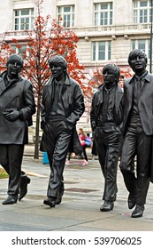 LIVERPOOL UK, 13th NOVEMBER 2016. Bronze statue of The Beatles sculpted by Andrew Edwards in place at the Pier Head Liverpool