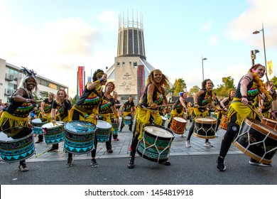 Liverpool, UK, 14 July 2019. Brazilica, Samba in the City. 2019 is the 11th anniversary of Liverpool's Capital of Culture Year. Brazilica celebrates all things Brazillian ending with a parade