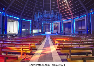 LIVERPOOL UK - 21ST MARCH 2016; Brightly coloured interior of the Liverpool Metropolitan Cathedral of Christ the King