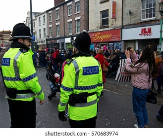 LIVERPOOL UK, 29th JANUARY 2017. Two British police officers on crowd control duty at the Chinese New Year celebrations in Liverpool UK