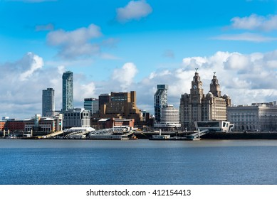 LIVERPOOL, UK - 30 March 2016: The Liverpool Waterfront, including the Liver Building, The Cunard Building and the Pier Head.