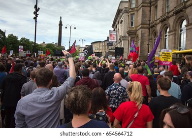 LIVERPOOL UK. 3rd June 2017. People on the streets of Liverpool protesting against a rally held by Ultra Right Wing group English Defence League.