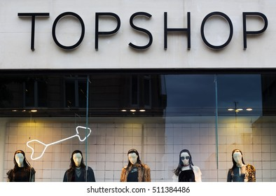 LIVERPOOL UK, 3rd NOVEMBER 2016. Window display at the Topshop store at night