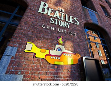 Liverpool UK, 5th JANUARY 2017, The Beatles Story Exhibition Sign, at Albert Dock, Liverpool, UK. A popular tourist attraction.