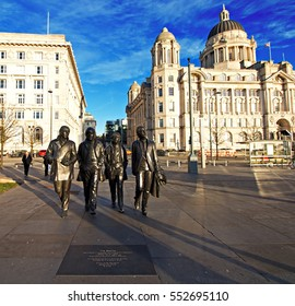 LIVERPOOL UK, 5th JANUARY 2017. Ultra wide angle view of Bronze statue of The Beatles sculpted by Andrew Edwards in place at the Pier Head Liverpool